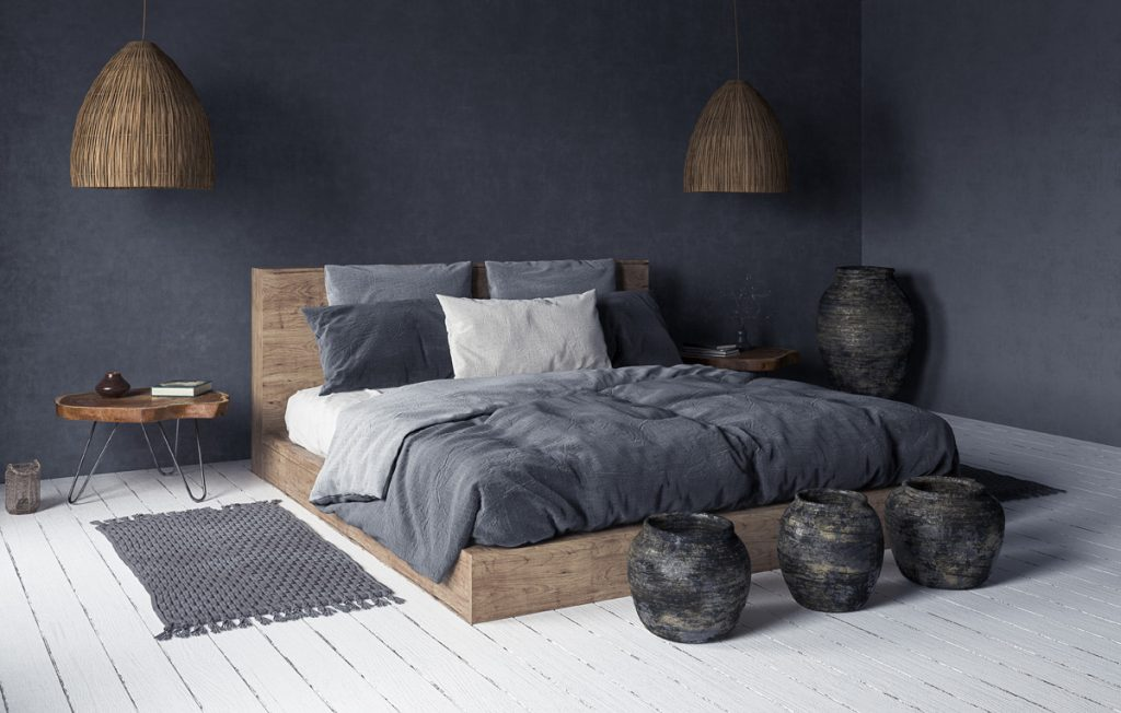beautyful wooden bed frame in a bedroom