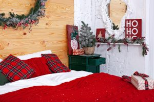 beautyful christmas bed with bedding