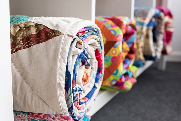 quilts in a studio